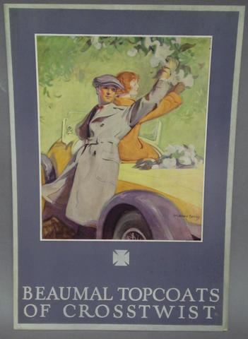 A Beaumal Topcoats advertisement with artwork after McClelland Barclay,