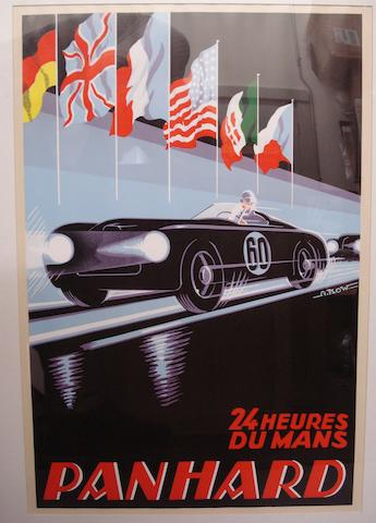 A Panhard 24-Heures Du Mans poster with artwork after Alex Kow,