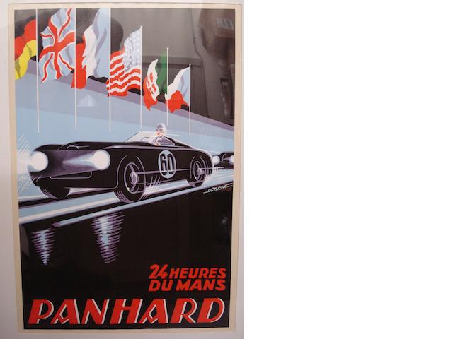 A Panhard 24 Heures Du Mans poster with artwork after Alex Kow,