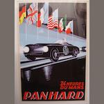 A Panhard 24 Heures Du Mans poster with artwork after Alex Kow,