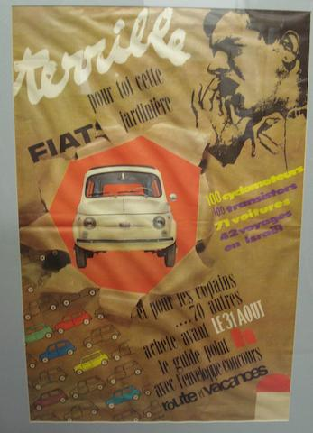 A c.1955 Fiat 500 advertising poster,