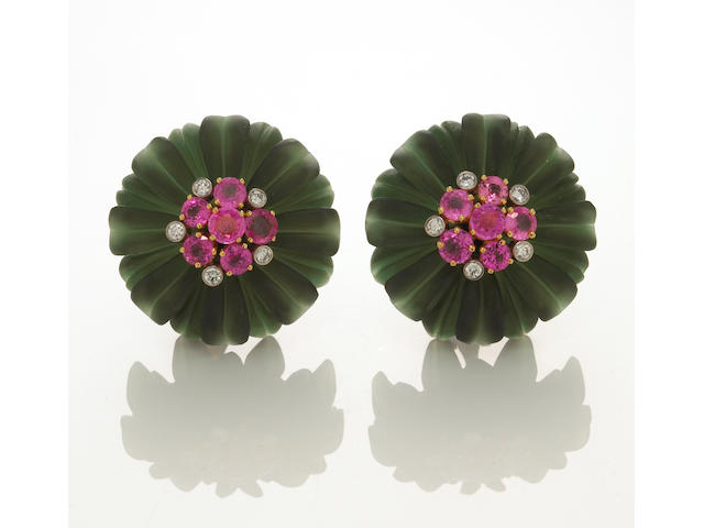 A pair of pink sapphire, diamond and green frosted rock crystal earclips, Aletto Bros.