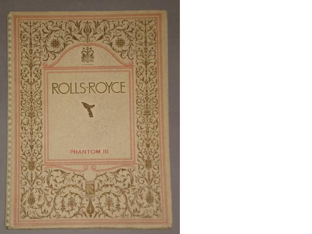 A Rolls-Royce Phantom III sales brochure,