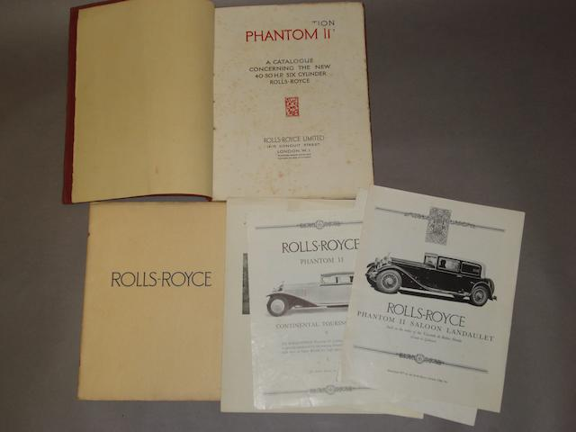 A sales catalogue for the Rolls-Royce Phantom II,