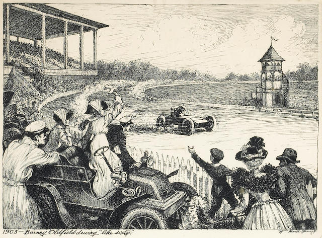Barney Oldfield driving 'Like Sixty' 1903, print after W M Young,