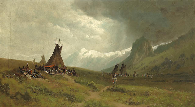 (n/a) Ransom Gillet Holdredge (American, 1836-1899) Indian camp with mountains in the distance 20 1/4 x 36 1/4in