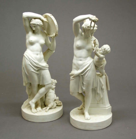 A pair of French bisque porcelain figures of Bacchantes late 18th/early 19th century