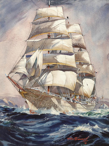 Arthur Beaumont Clipper and Frigate at Sea