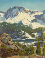 (n/a) Elmer Wachtel (American, 1864-1929) Snowy slope by water's edge, Sierra Nevada; Snow-covered peaks and pines beside a lake, Sierra Nevada (a pair) each 17 3/4 x 13 3/4in