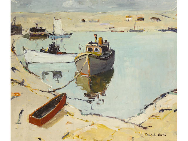 (n/a) Thomas Lorraine Hunt (American, 1882-1938) Boats along the shore 20 x 24in