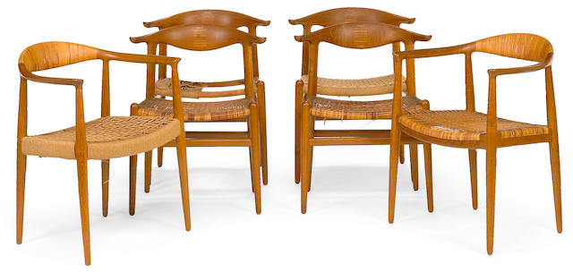 A Hans J. Wegner teak seven piece dining suite for Andreas Tuck and Johannes Hansen 1950s
