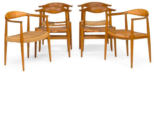 A Hans J. Wegner teak seven piece dining suite for Andreas Tuck and Johannes Hansen 1950s