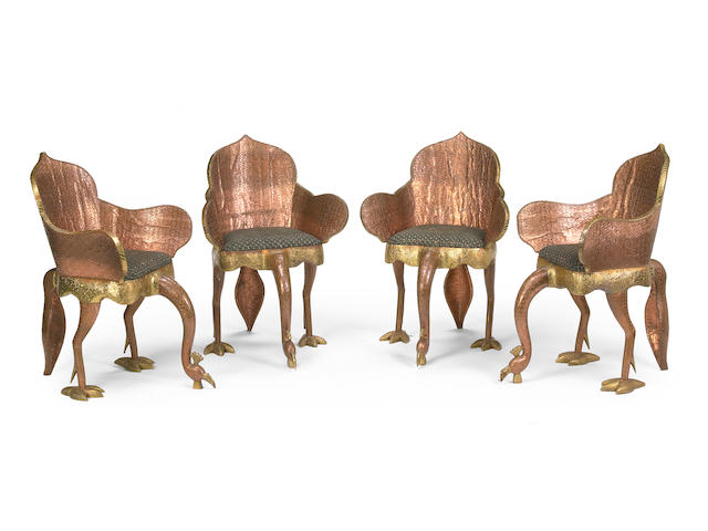 A set of four Tony Duquette Indian mixed metal Peacock chairs