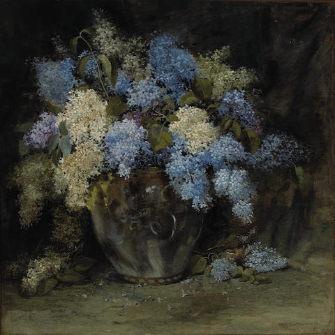 William Hubacek (American, 1871-1958) Still life with lilacs, 1895 30 x 30in