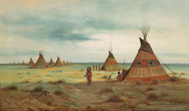 (n/a) Astley David Middleton Cooper (American, 1856-1924) Cheyenne camp, 1910 30 x 50in