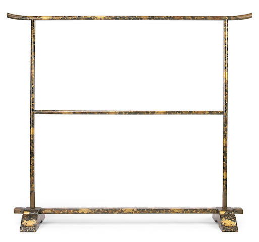 A gold and black lacquer clothing rack (iko) Edo Period, 19th Century