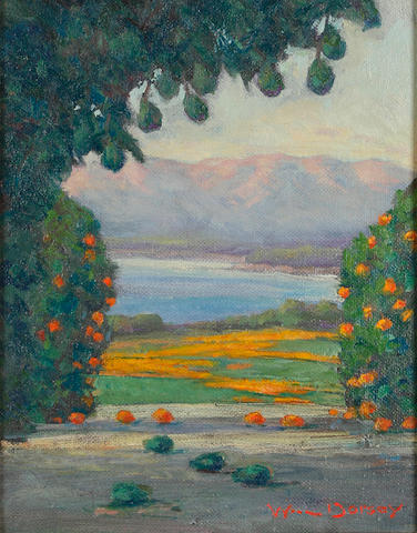 (n/a) William Dorsey (born 1942) Orange Trees and Poppies 10 x 8in