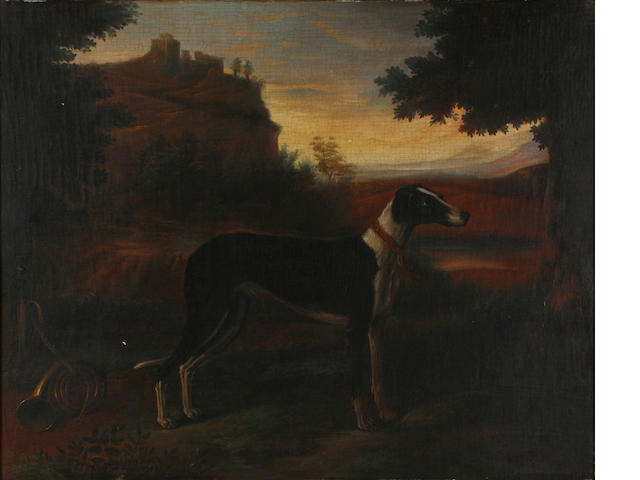 English School, 19th Century A hound with a hunting horn in an evening landscape 16 x 20in