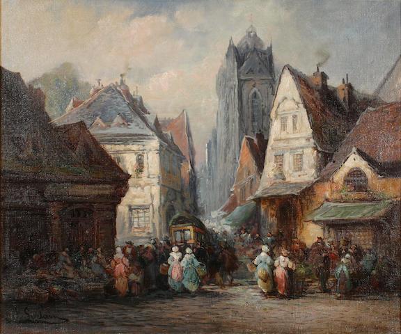 J. Sorlain (French) A market scene in Rouen 18 x 21 1/2in