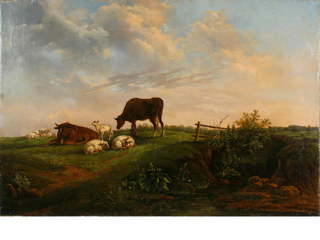 Dutch School, 19th Century Cattle and sheep grazing in a pasture 24 x 35in unframed