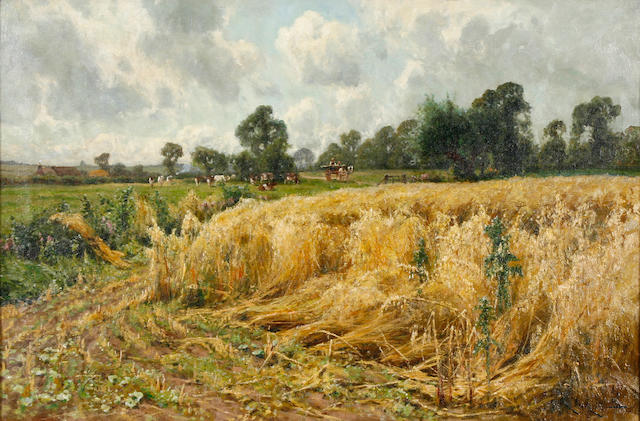 Arthur William Redgate (British, 1860-1906) Harvest time  20 1/2 x 30 1/2in