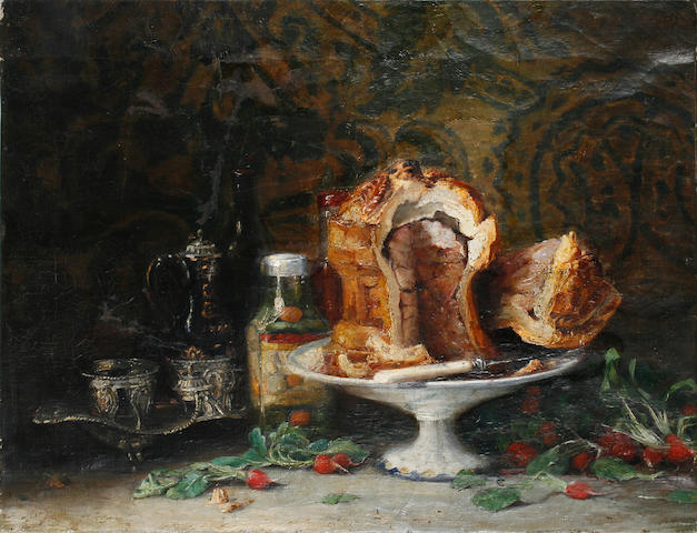 French School, 19th Century A still life with meat pie and radishes on a table 21 1/2 x 28 1/2in unframed