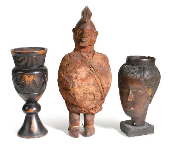 A group of six African objects