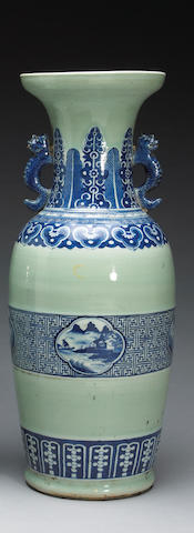 An underglaze blue and celadon glazed baluster vase with dragon handles Late 19th Century