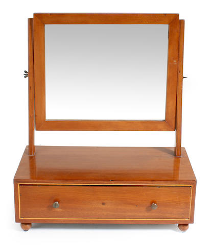 A Federal boxwood lined swing frame toilet mirror