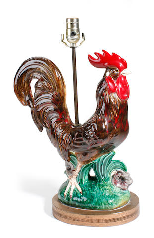 A pair of Continental glazed earthenware cockerel form table lamps