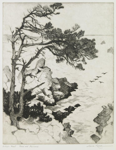 Gene (Alice Geneva) Kloss (American, 1903-1996); Pines and Pelicans;