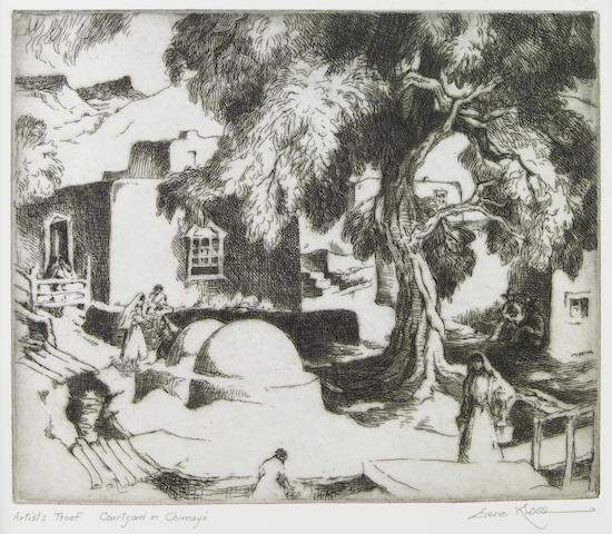 Gene (Alice Geneva) Kloss (American, 1903-1996); Courtyard in Chimayo;