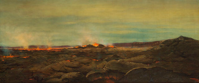 (n/a) Joseph Dwight Strong (American, 1852-1899) Lava flow, 1888 24 x 56in