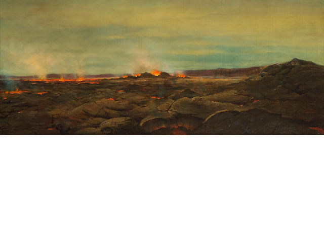 Joseph Dwight Strong (American, 1852-1899) Lava flow, 1888 24 x 56in