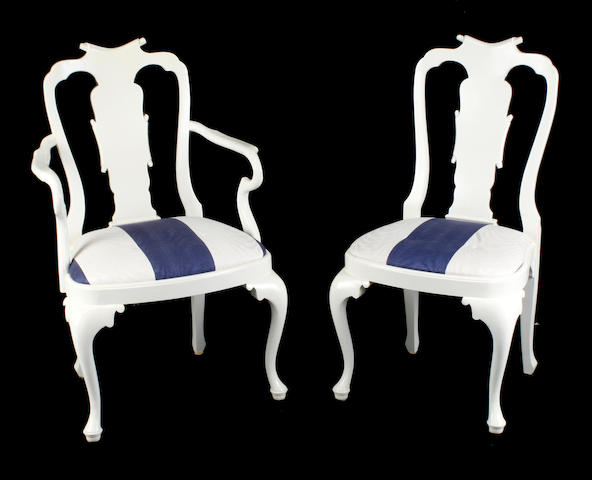 A set of eight Queen Anne style white painted dining chairs