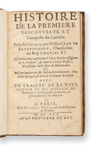1629'629-1630›ontier (P.) et J. Le Verrier¡istoire de la Premiere Descouverte et Conquefte des Canaries [2 vols.]©aris'999...20$4,430 ¥ibrairie Thomas-Scheler, The Brinley copy, $75, 1880 FF 30,000