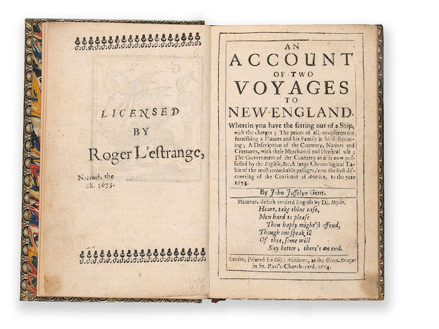 17	1674	1674	Josselyn, John	An Account of Two Yoyages to New-England		2000	 $6,600 	Laird Park	187