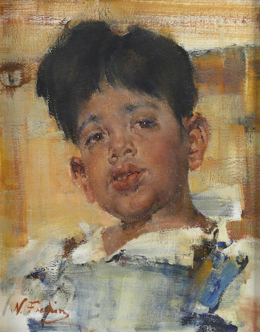 Nikolai Fechin (Russian, 1881-1955) Head of a boy 20 x 16in
