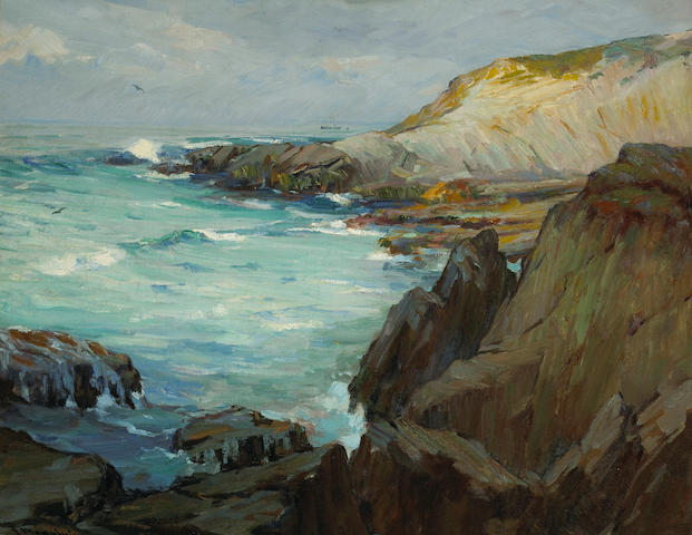 Jean Mannheim (American, 1863-1945) Rocky coastline 28 x 36 1/4in