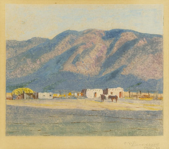 Oscar Edmund Berninghaus (American, 1874-1952) Adobes, Taos, New Mexico, 1927; Mountain landscape with houses, Taos, New Mexico, 1927 (a pair) each, plate: 5 x 6in