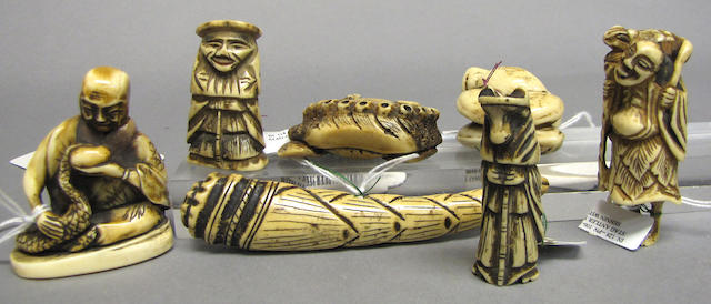 A group of seven stag antler netsuke Most 19th Century