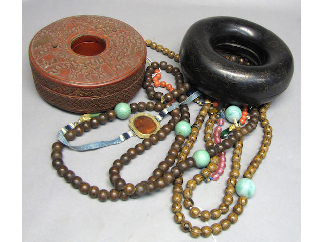 Two partial wood-bead Mandarin necklaces in lacquer boxes