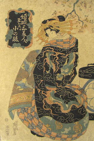 Keisai Eisen (1790-1848) Two woodblock prints of beauties