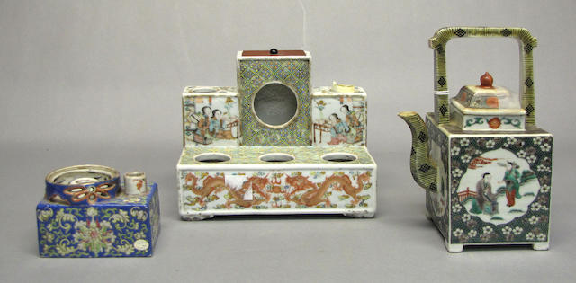 A group of polychrome enameled porcelain accessories Late Qing/Republic Period