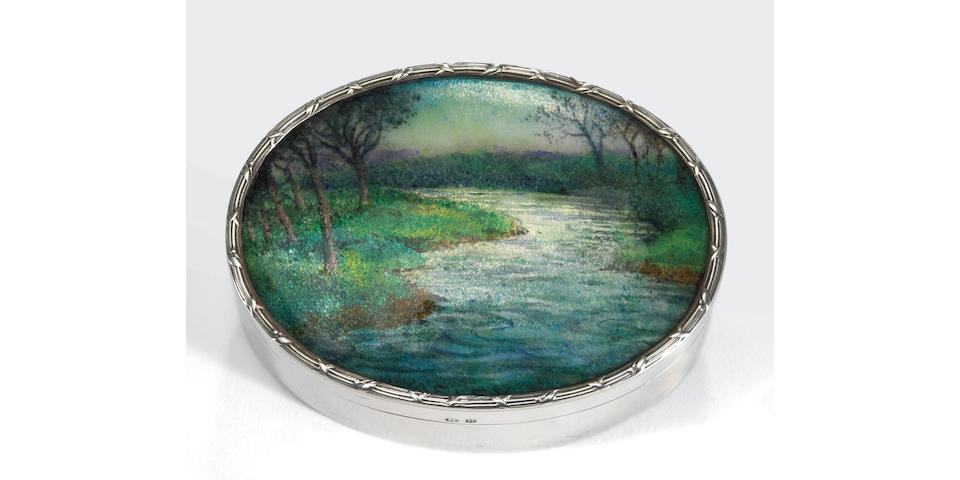 A George V Silver Oval Table Box by Liberty & Co., with Enameled Landscape Top Possibly by Fleetwood Charles Varley