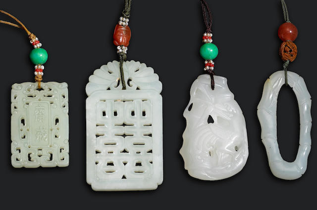 A group of nephrite pendants