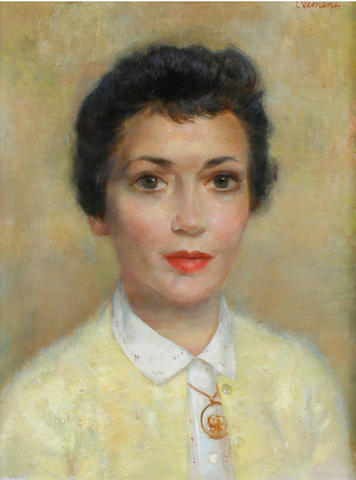 Paul Lewis Clemens (American, 1911-1992) Portrait of Patty Lewis 15 x 12in