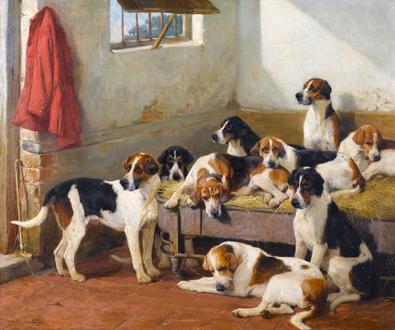 John Sargent Noble, RBA (British, 1848-1896) Hounds on a bench 25 1/4 x 20 in. (64 x 76 cm.)