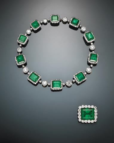 An impressive 19th century emerald, diamond and