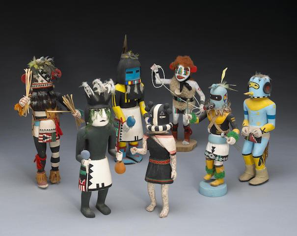 Seven Hopi kachina dolls